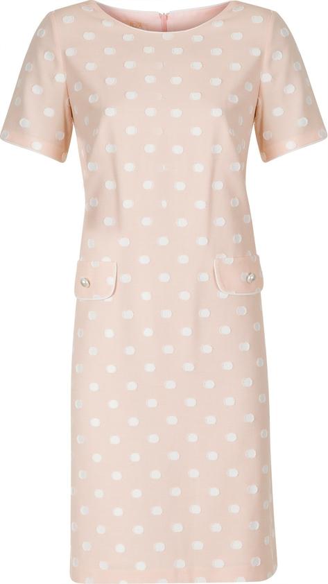 Sukienka Poza z okrągłym dekoltem z tkaniny