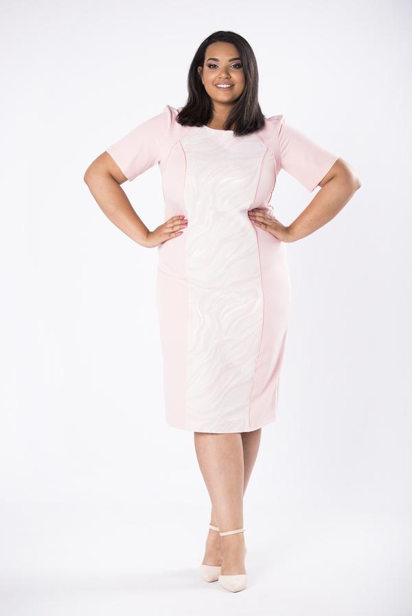 Sukienka Ptakmoda.com midi z krótkim rękawem dopasowana