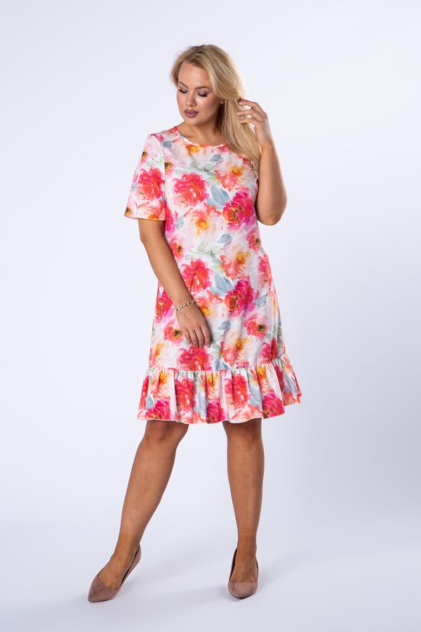 Sukienka Ptakmoda.com z krótkim rękawem mini z okrągłym dekoltem