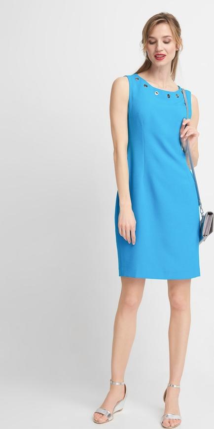 Sukienka QUIOSQUE bez rękawów prosta z okrągłym dekoltem