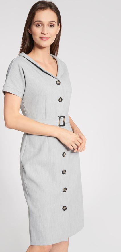 Sukienka QUIOSQUE midi z dekoltem w kształcie litery v z krótkim rękawem