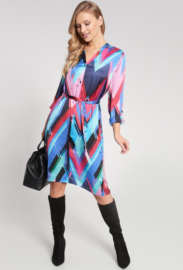 Sukienka QUIOSQUE w stylu casual z długim rękawem koszulowa