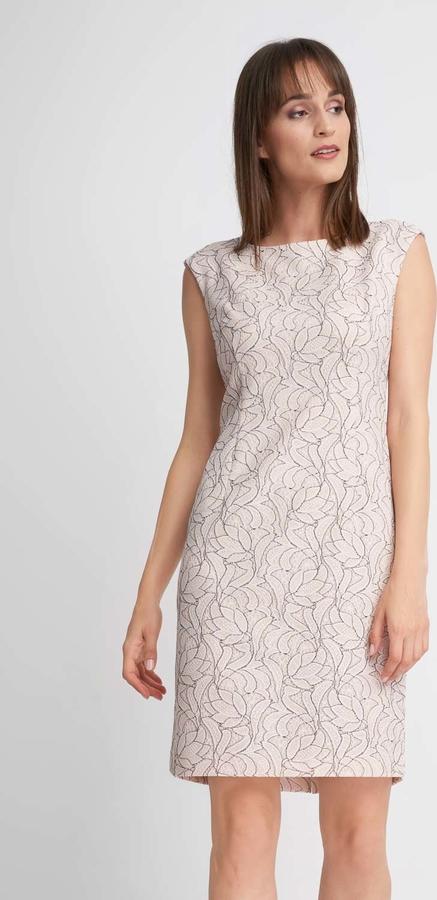 Sukienka QUIOSQUE z okrągłym dekoltem prosta