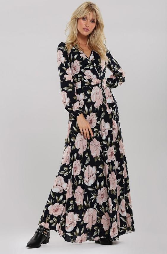 Sukienka Renee kopertowa maxi z dekoltem w kształcie litery v