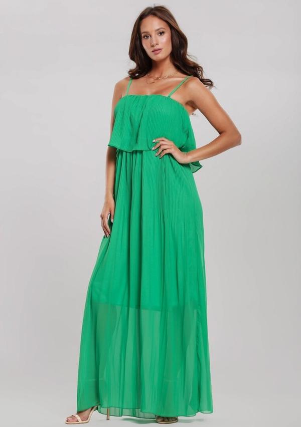 Sukienka Renee maxi na ramiączkach z dekoltem w karo