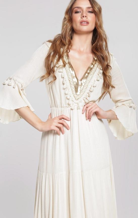 Sukienka Renee maxi z długim rękawem trapezowa