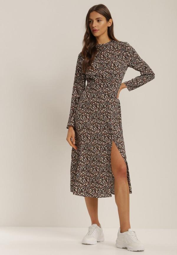 Sukienka Renee midi w stylu casual z okrągłym dekoltem