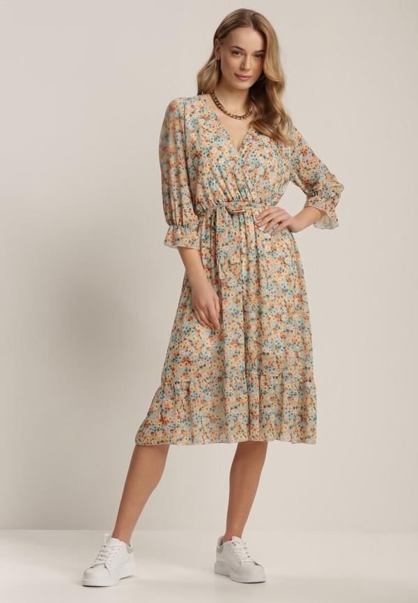 Sukienka Renee midi z długim rękawem