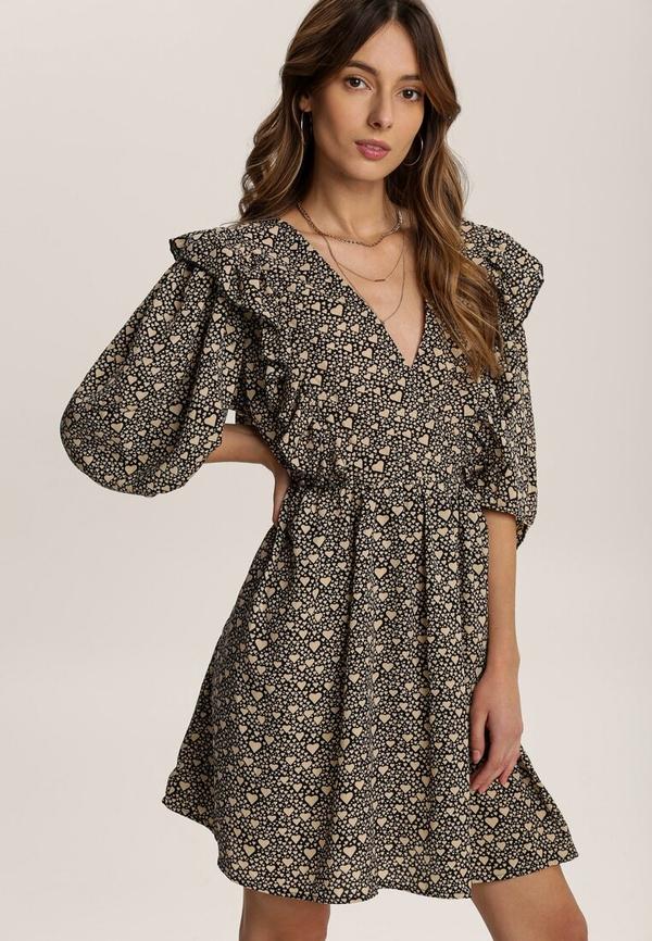 Sukienka Renee mini z dekoltem w kształcie litery v z długim rękawem