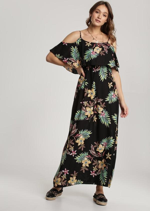 Sukienka Renee w stylu boho z długim rękawem z okrągłym dekoltem