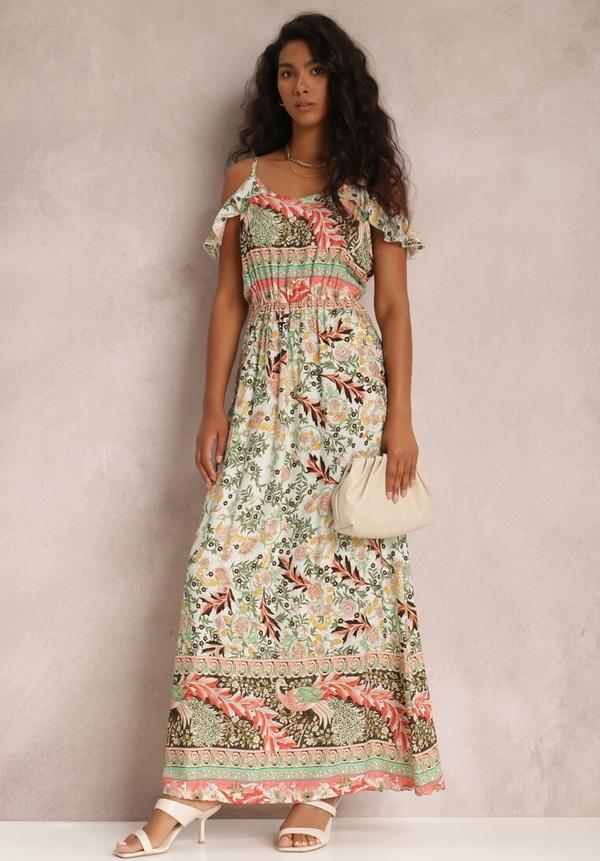 Sukienka Renee w stylu boho z krótkim rękawem z dekoltem w kształcie litery v