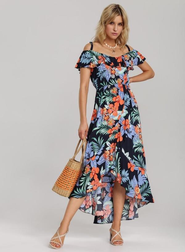 Sukienka Renee z asymetrycznym dekoltem maxi z krótkim rękawem