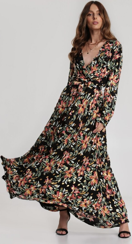 Sukienka Renee z dekoltem w kształcie litery v maxi z długim rękawem