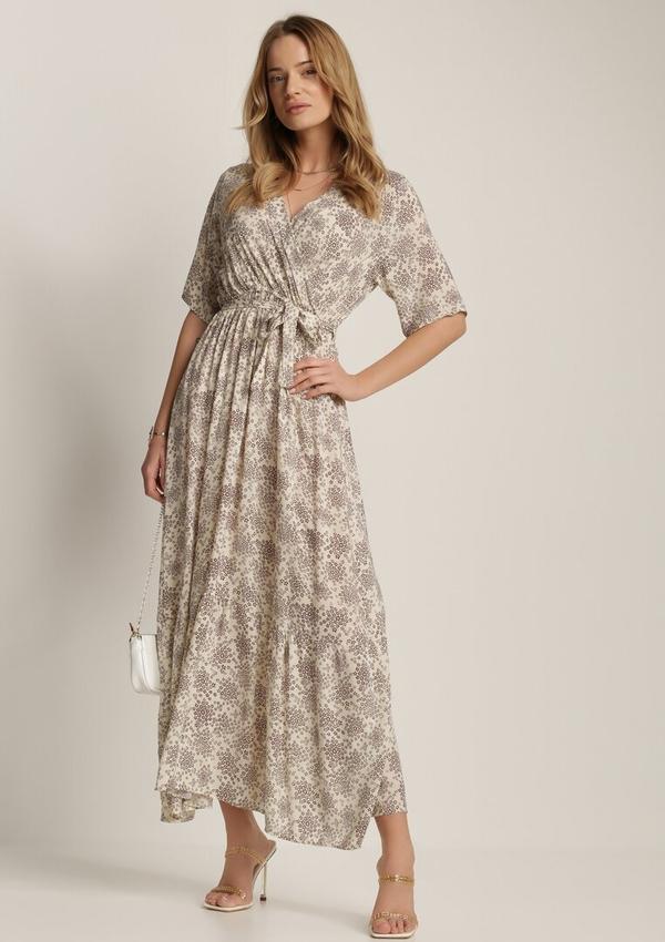 Sukienka Renee z dekoltem w kształcie litery v trapezowa maxi