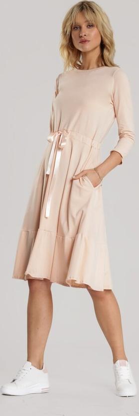 Sukienka Renee z długim rękawem z okrągłym dekoltem midi