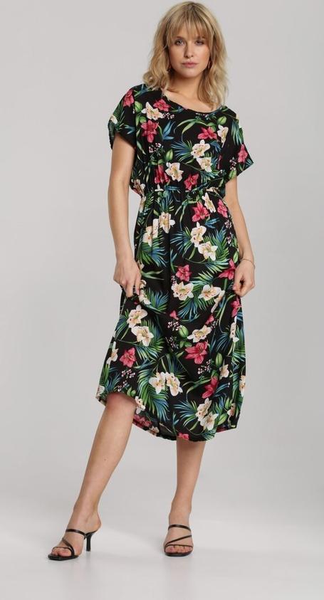 Sukienka Renee z krótkim rękawem z okrągłym dekoltem midi