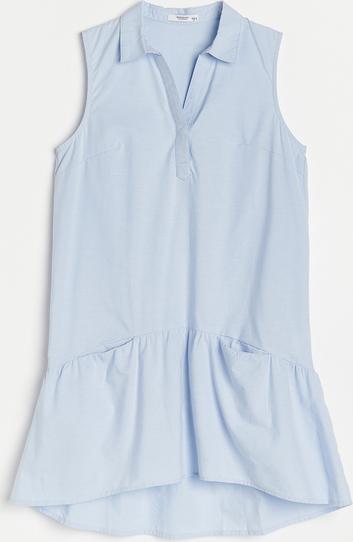 Sukienka Reserved koszulowa mini z kołnierzykiem