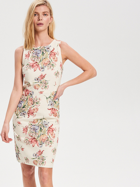 Sukienka Reserved midi z okrągłym dekoltem