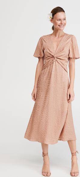 Sukienka Reserved z dekoltem w kształcie litery v midi z żakardu