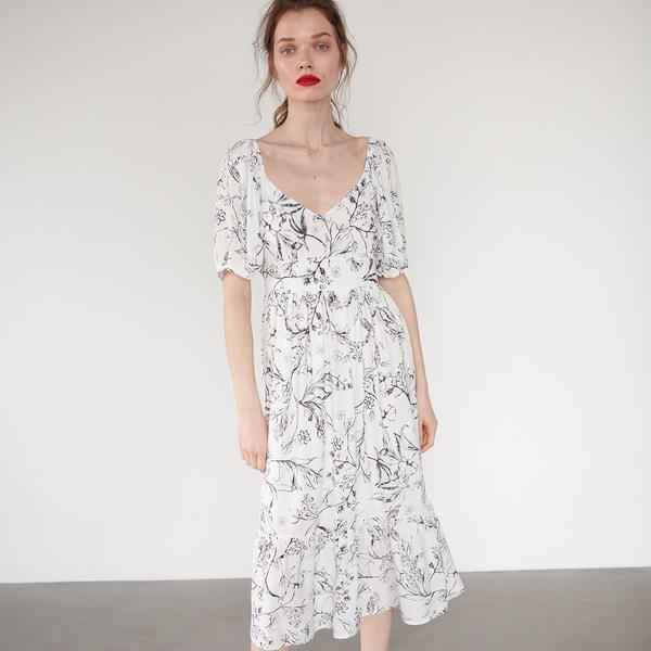 Sukienka Reserved z długim rękawem w stylu boho