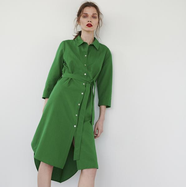 Sukienka Reserved z długim rękawem z kołnierzykiem midi