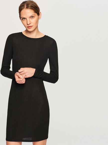c50c34149d Czarna sukienka Reserved z okrągłym dekoltem dopasowana z długim rękawem