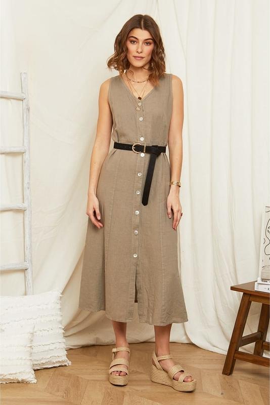 Sukienka Rodier Lin na ramiączkach z dekoltem w kształcie litery v