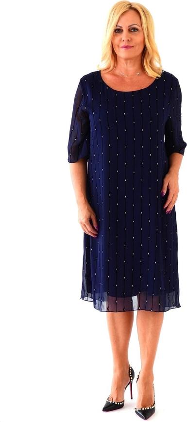 Sukienka Roxana - sukienki z długim rękawem midi z szyfonu