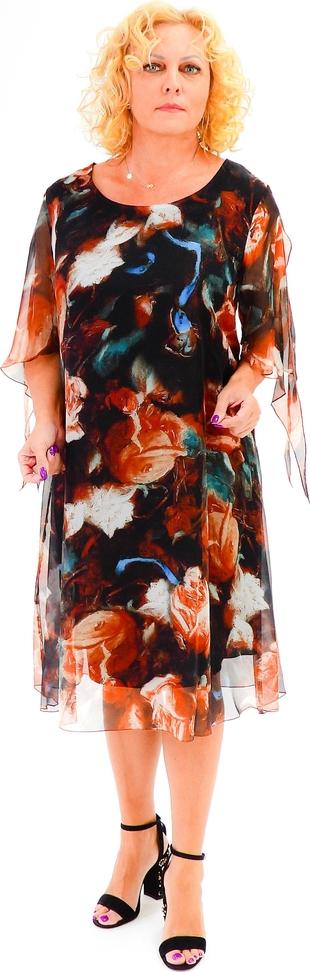 Sukienka Roxana - sukienki z okrągłym dekoltem midi z szyfonu
