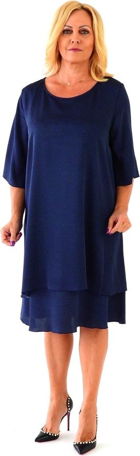 Sukienka Roxana - sukienki z satyny midi z długim rękawem
