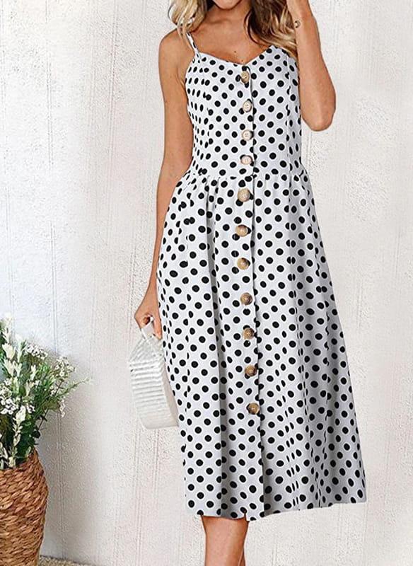 Sukienka Sandbella dopasowana z dekoltem w kształcie litery v midi