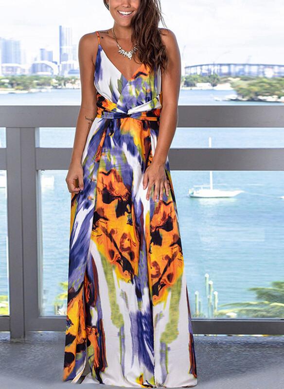 Sukienka Sandbella maxi z dekoltem w kształcie litery v