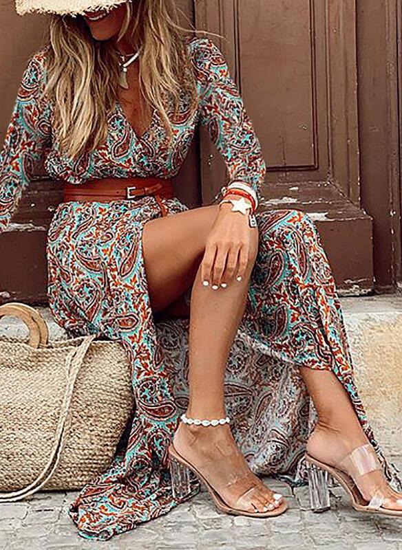 Sukienka Sandbella maxi z długim rękawem w stylu boho