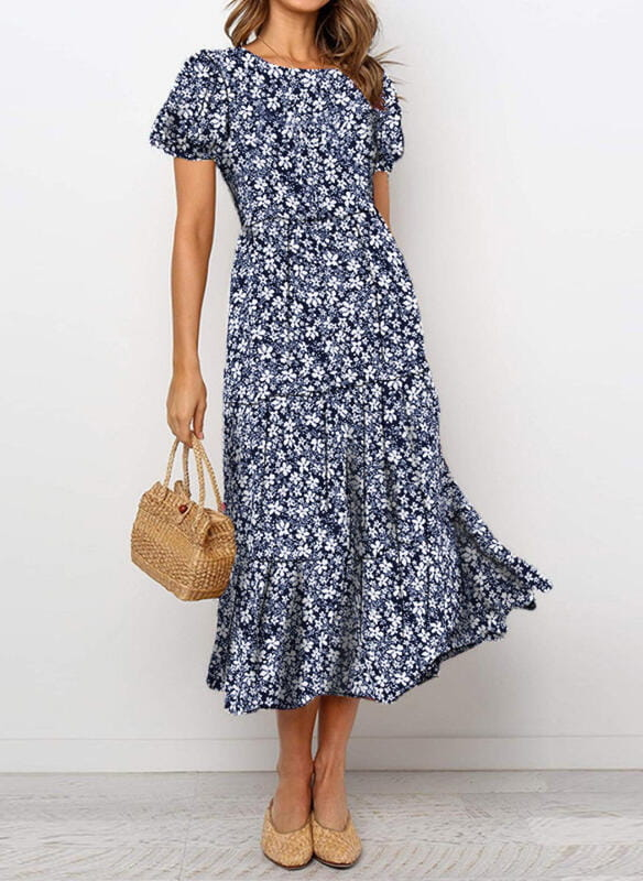 Sukienka Sandbella maxi z krótkim rękawem w stylu boho