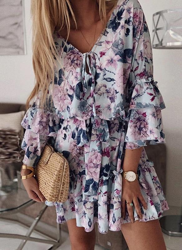Sukienka Sandbella mini z dekoltem w kształcie litery v oversize