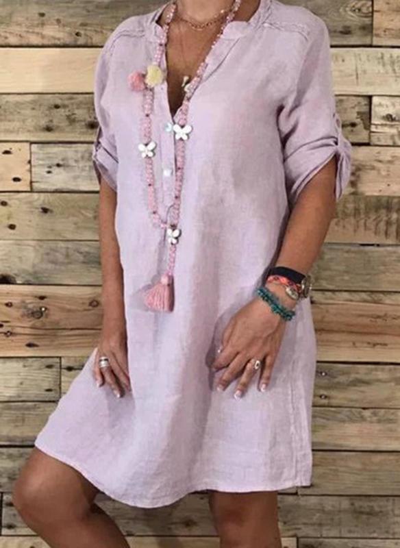 Sukienka Sandbella w stylu boho z długim rękawem prosta