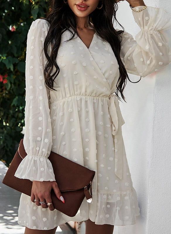 Sukienka Sandbella w stylu casual z długim rękawem z dekoltem w kształcie litery v