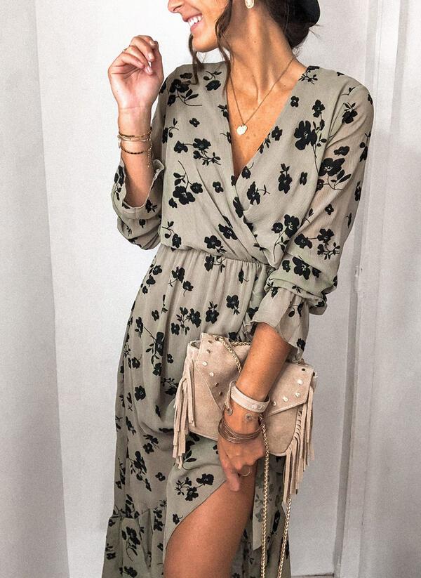 Sukienka Sandbella z długim rękawem z dekoltem w kształcie litery v