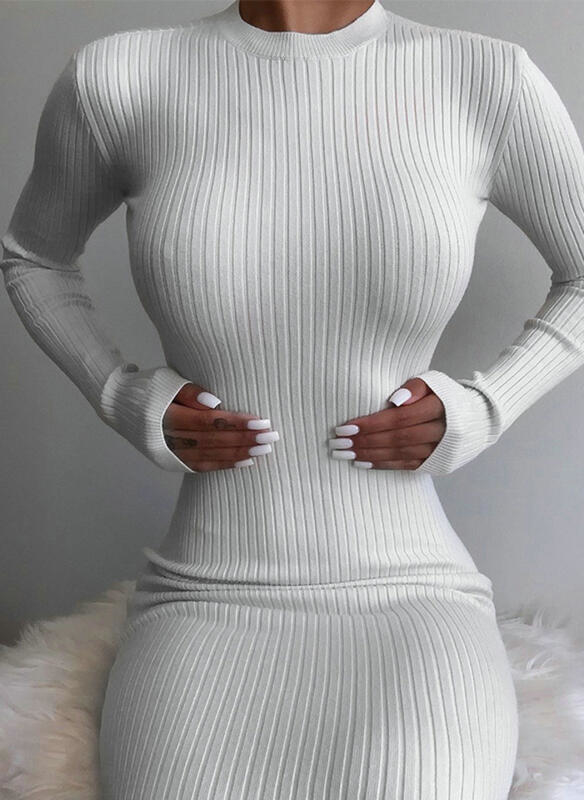 Sukienka Sandbella z dresówki z długim rękawem w stylu casual