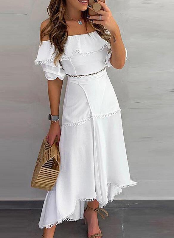 Sukienka Sandbella z krótkim rękawem hiszpanka maxi