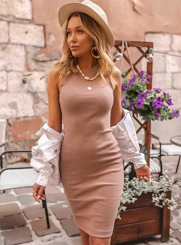 Sukienka SELFIEROOM z okrągłym dekoltem w stylu casual mini