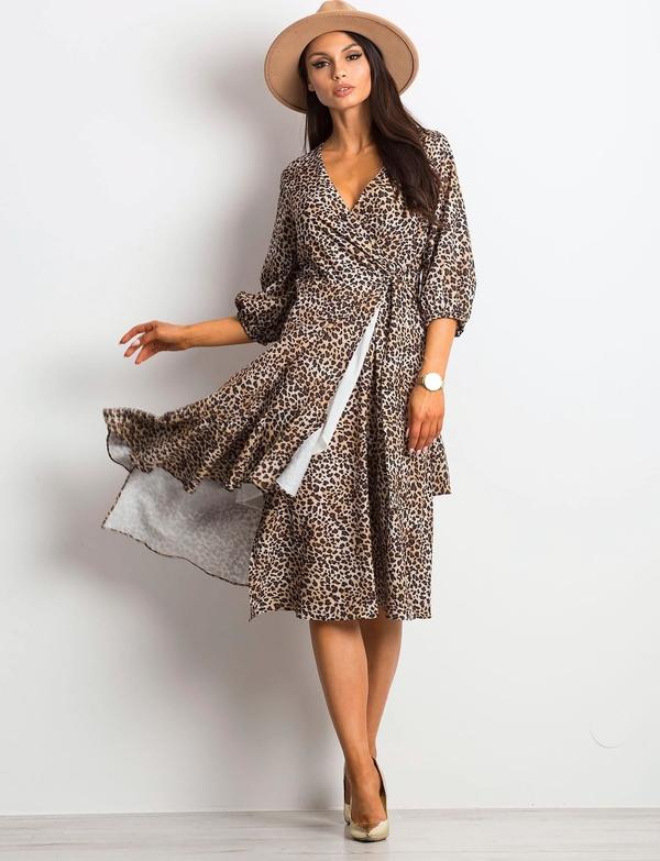 Sukienka Sheandher.pl z długim rękawem kopertowa z bawełny