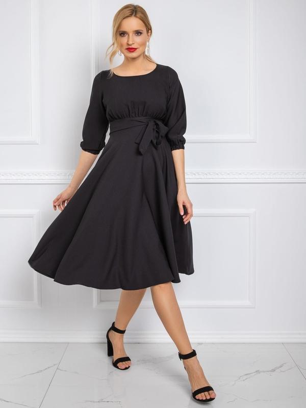 Sukienka Sheandher.pl z długim rękawem z okrągłym dekoltem