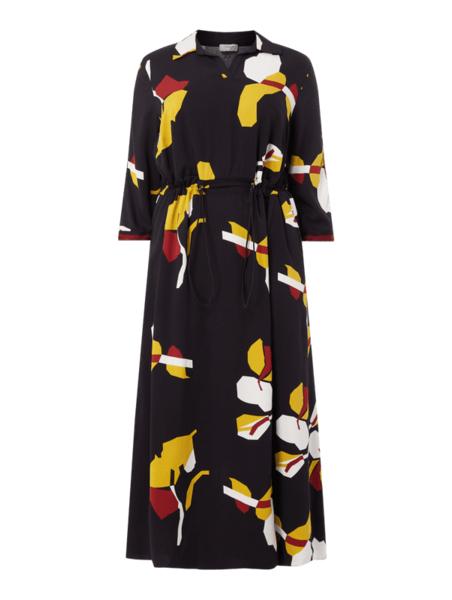 Sukienka Sheego z długim rękawem midi z kołnierzykiem