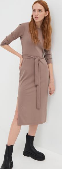 Sukienka Sinsay z długim rękawem prosta midi