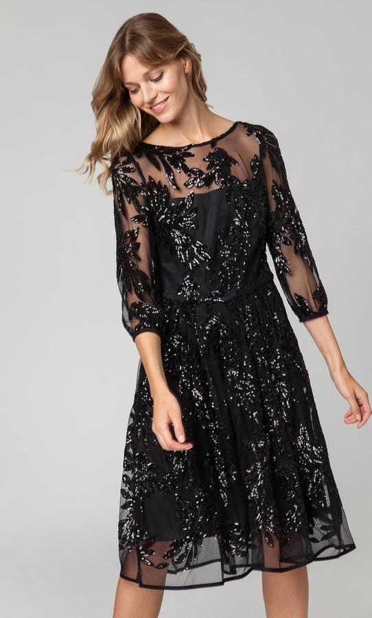 Sukienka Solar z okrągłym dekoltem midi w stylu glamour