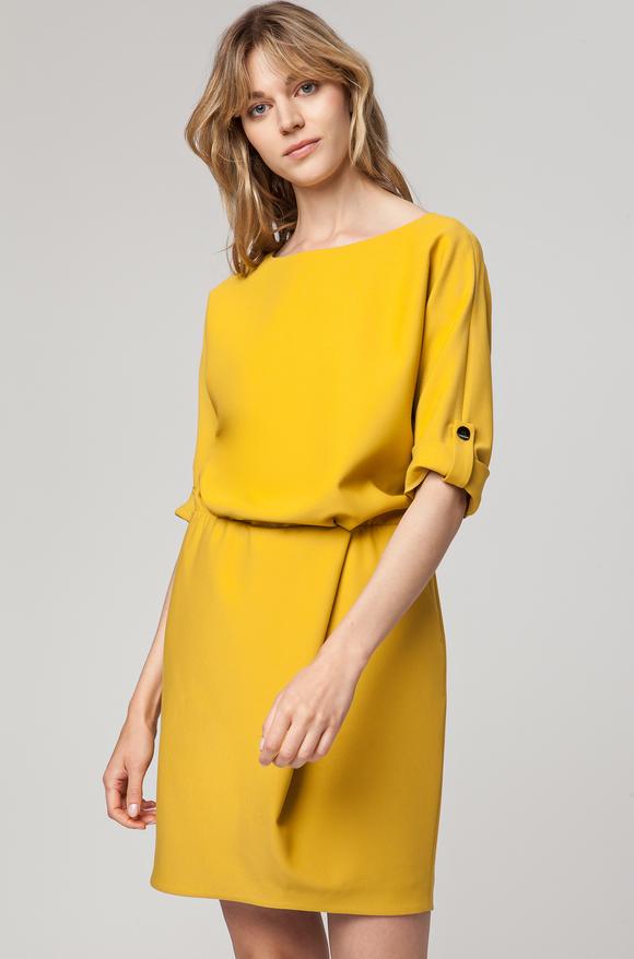 c78dc887c9 Żółta sukienka Solar midi