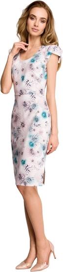 Sukienka Style z tkaniny z dekoltem w kształcie litery v z krótkim rękawem