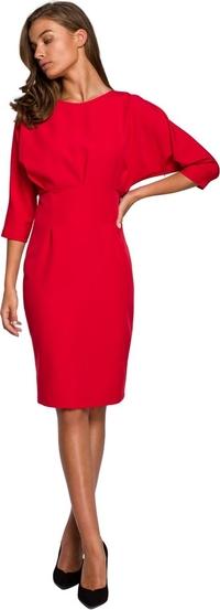 Sukienka Style z tkaniny z okrągłym dekoltem midi