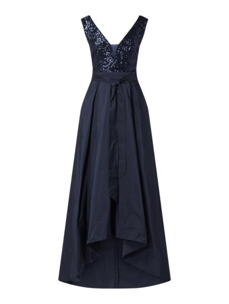Sukienka Swing asymetryczna maxi z dekoltem w kształcie litery v